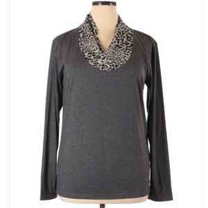 Doublju Gray Leopard Animal Print Mock Neck Sweate